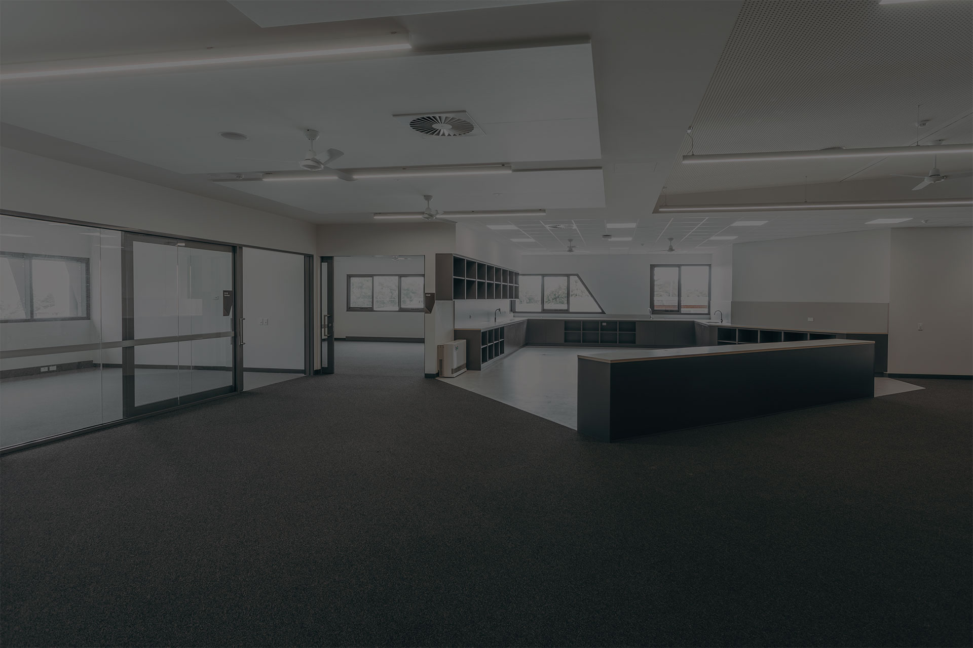 image of an acoustic sliding door system installed at a Victoria secondary school
